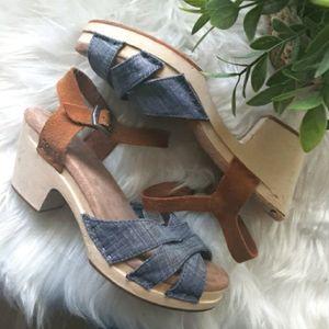 Tom's Denim and Suede Platform Sandals